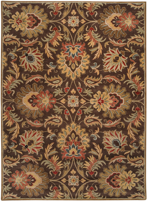 7.5' x 9.5' Brown and Ivory Contemporary Hand Tufted Floral Rectangular Wool Area Throw Rug - IMAGE 1