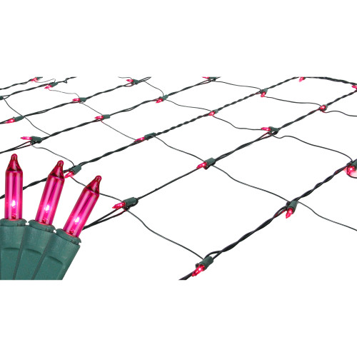 4' x 6' Pink Mini Net Style Christmas Lights - Green Wire - IMAGE 1