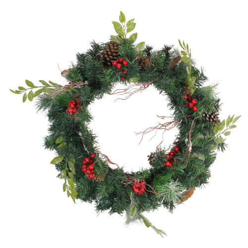 Pre-Decorated Frosted Pinecone and Berry Artificial Christmas Wreath - 24-Inch, Unlit - IMAGE 1