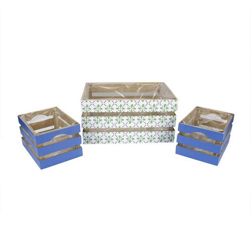 "Set of 3 French Countryside Green Rectangular Wooden Decorative Storage Box Nesting Crates 13.5"" - IMAGE 1"
