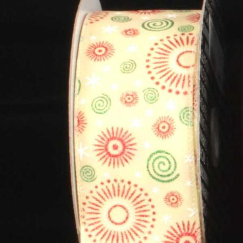 "Yellow Swirls and Sunbursts Wired Craft Ribbon 2.5"" x 20 Yards - IMAGE 1"
