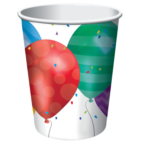 Club Pack of 96 Red and Green Balloon Blast Disposable Paper Drinking Party Tumbler Cups 9 oz. - IMAGE 1
