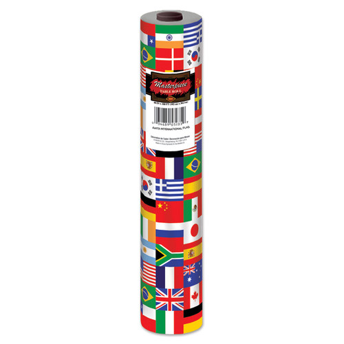 100' Red and Blue International Flag Disposable Banquet Party Table Roll - IMAGE 1