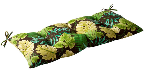 """44"""" Brown and Green Floral Reversible Outdoor Patio Tufted Wicker Loveseat Cushion - IMAGE 1"""