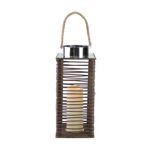 """15.5"""" Contemporary Wooden Corded Lantern with LED Flameless Pillar Candle with Timer - IMAGE 1"""