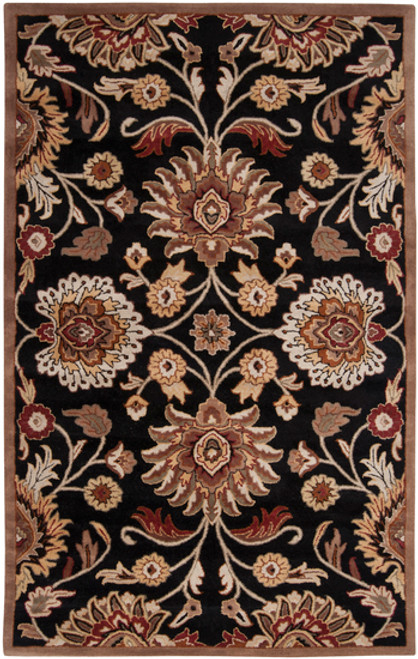 6' x 9' Floral Black and Red Hand Tufted Rectangular Wool Area Throw Rug - IMAGE 1