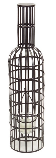 "15.75"" Austere Black Wine Bottle Shaped Tea Light Candle Holder - IMAGE 1"