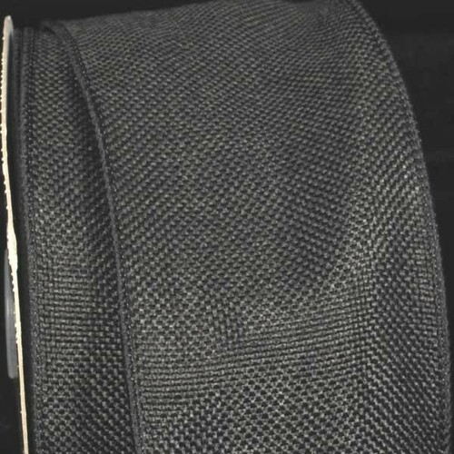"Black Fine Burlap Wired Craft Ribbon 3"" x 40 Yards - IMAGE 1"