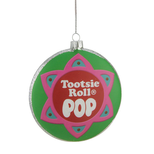 """4"""" Green and Pink """"Tootsie Roll POP"""" Candy Filled Lollipop Christmas Disc Ornament - IMAGE 1"""