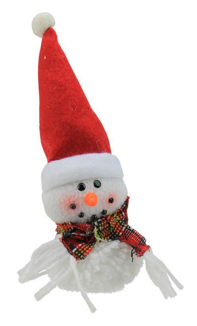 """8"""" Red and White Snowman with Santa Hat Christmas Ornament - IMAGE 1"""