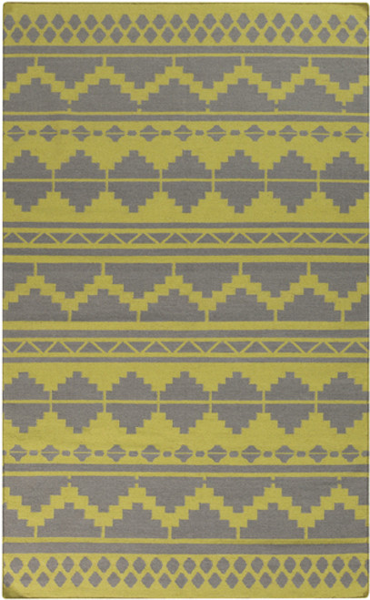 8' x 11' Bohemian Lime Green and Gray Hand Woven Rectangular Wool Area Throw Rug - IMAGE 1