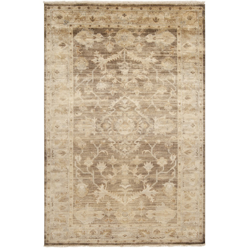5.5' x 8.5' Sivas Tea Leaves Caramel Brown and Cream White Hand Knotted Wool Area Throw Rug - IMAGE 1