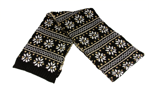 "60"" Unisex Black Jacquard Knit Winter Scarf - IMAGE 1"
