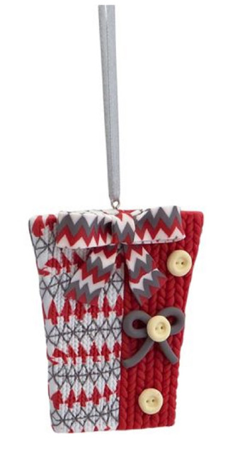 """3.25"""" Alpine Chic Red, White and Gray Knit Style Gift Box Christmas Ornament - IMAGE 1"""