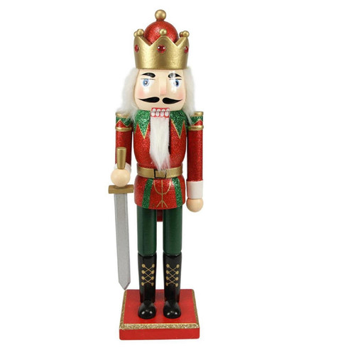 """14"""" Red Glittered Nutcracker King with Sword Christmas Tabletop Figurine - IMAGE 1"""