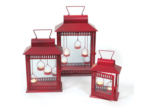 "Set of 3 Red Christmas Indoor/Outdoor Tea Light Candle Lanterns 18"" - IMAGE 1"