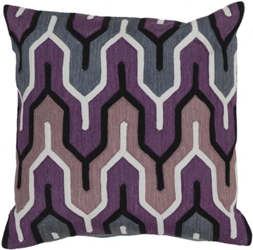 "18"" Purple and Gray Geometric Square Throw Pillow - IMAGE 1"