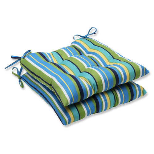 """Set of 2 Strisce Luminose Blue and Yellow Striped Outdoor Patio Chair Cushions 19"""" - IMAGE 1"""
