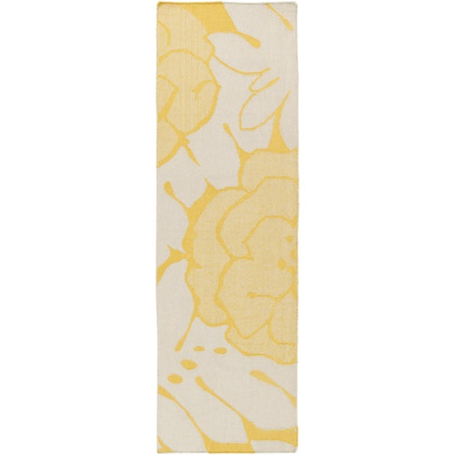 2.5' x 8' Devine Design Floral Yellow Gold and Light Gray Hand Woven Reversible Wool Area Throw Rug Runner - IMAGE 1