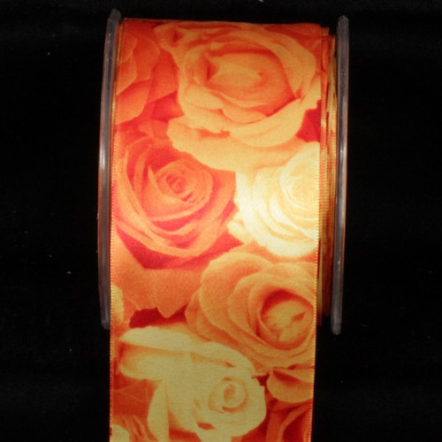 "Fantastic Yellow Rose Day Wired Craft Ribbon 2.5"" x 27 Yards - IMAGE 1"