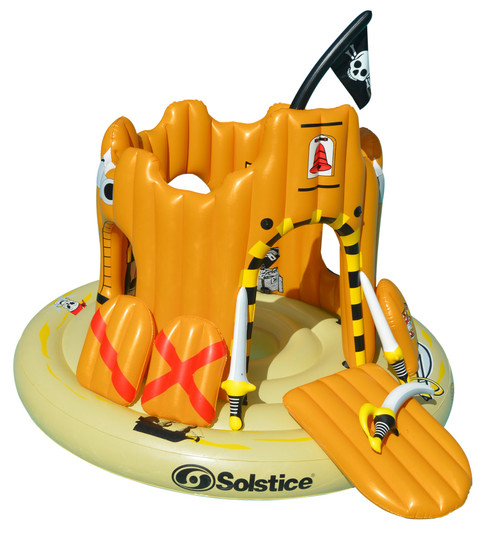 Inflatable Orange Pirate Castle Adventure Swimming Float, 82-Inch - IMAGE 1