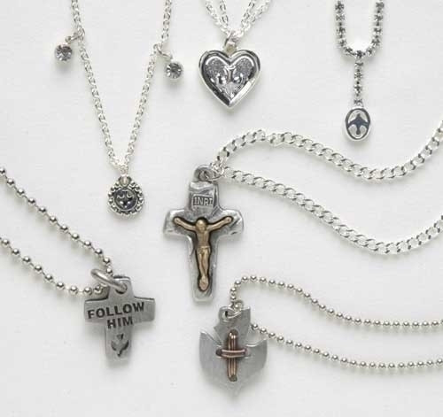 """Club Pack of 12 Silver Assorted Religious Confirmation Pendants 24"""" - IMAGE 1"""