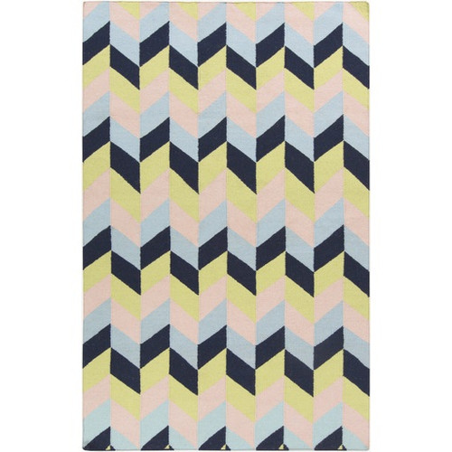 2.5' x 8' Geometric Blue and Pale Pink Hand Woven Wool Area Throw Rug Runner - IMAGE 1