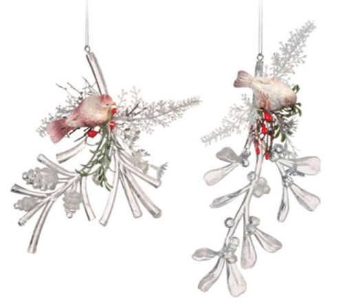 """Club Pack of 12 Clear Icy Crystal Decorative Christmas Bird on Branch Ornaments 6"""" - IMAGE 1"""