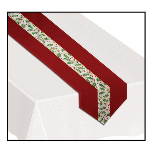 Pack of 6 Red and Green Berries Disposable Banquet Christmas Table Runners 6' - IMAGE 1