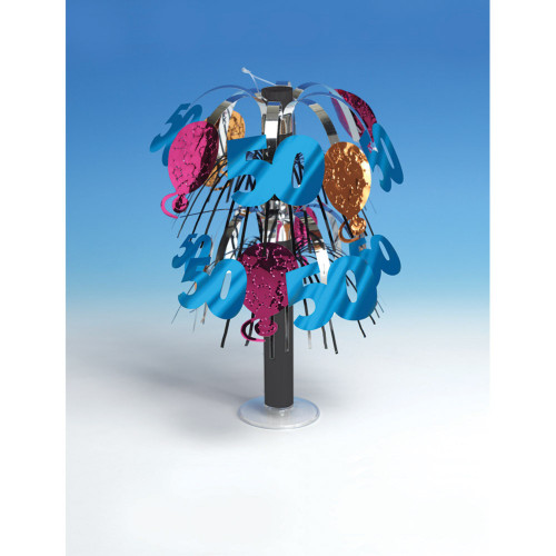 """Club Pack of 12 Vibrantly Colored """"50"""" 50th Birthday Mini Party Centerpieces 10.5"""" - IMAGE 1"""