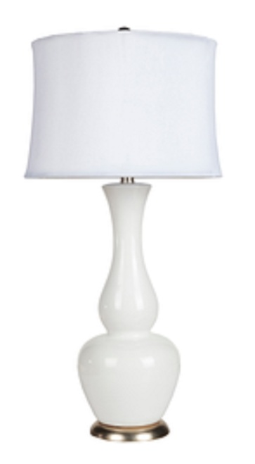 "30"" Modern Poise Ivory Ceramic Table Lamp with Ivory Modified Drum Shade - IMAGE 1"
