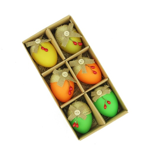 "Set of 6 Green and Yellow Burlap Spring Easter Egg Ornaments 2.25"" - IMAGE 1"