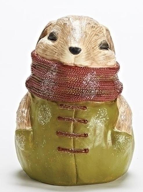 """8.5"""" Brown and Green Bunny Rabbit Christmas Tabletop Figure - IMAGE 1"""