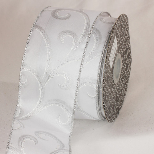 "Glitter White and Silver Swirly Whirl Wired Craft Ribbon 2.5"" x 40 Yards - IMAGE 1"