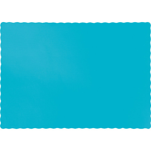 "Club Pack of 600 Bermuda Blue Solid Disposable Table Placemats 13.5"" - IMAGE 1"