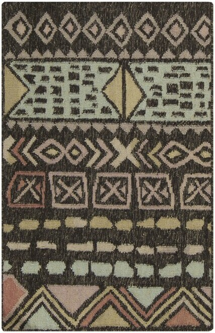 8' x 11' Ancestral Origins Brown and Beige Hand Woven Rectangular Wool Area Throw Rug - IMAGE 1