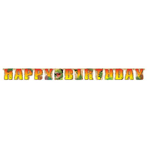 Club Pack of 12 Vibrantly Colored Happy Birthday Dino Blast Party Decoration Banners 7.23' - IMAGE 1