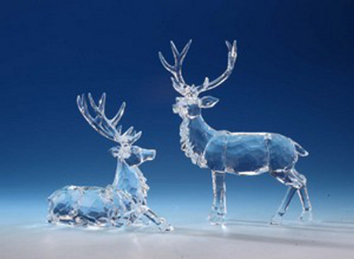 "Set of 4 Icy Clear Decorative Caribou Table Top Figurines 9.5"" - IMAGE 1"