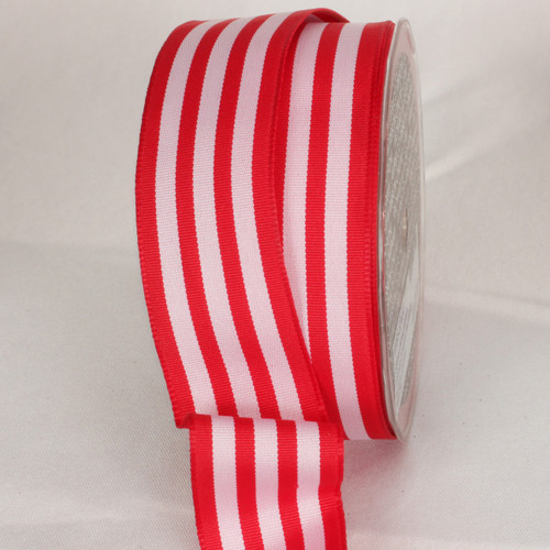 """Red and White Striped Wired Craft Ribbon 1.5"""" x 27 Yards - IMAGE 1"""