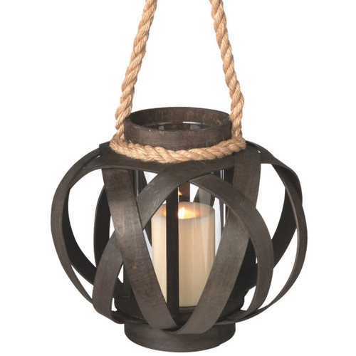 "11"" Small Brown Open Weave Pillar Candle Lantern with Rope Handle - IMAGE 1"