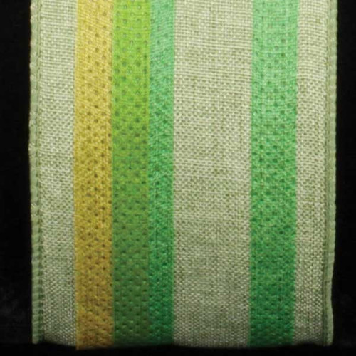 """Green and Yellow Wired Craft Ribbon with Stripes 2.5"""" x 20 Yards - IMAGE 1"""