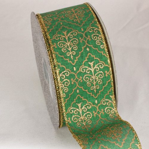 """Green and Gold Tree Design Wired Craft Ribbon 2.5"""" x 20 yards - IMAGE 1"""