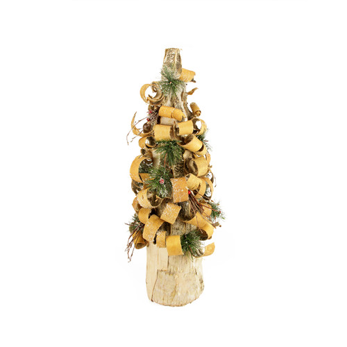 """23"""" Rustic Tree Bark Inspired Flocked Table Top Christmas Cone Tree with Pine and Berries - IMAGE 1"""