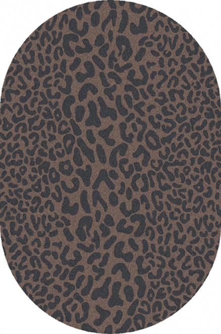 6' x 9' Les Animaux Gray and Tan Cheetah Hand Tufted Oval Wool Area Throw Rug - IMAGE 1
