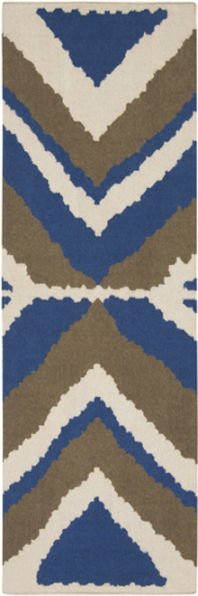 2.5' x 8' Ivory and Blue Hand-Woven Wool Area Throw Rug Runner - IMAGE 1