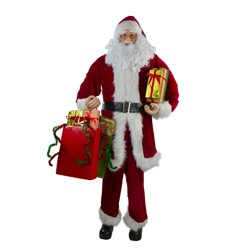6' Red and White Standing Santa Claus with Presents Christmas Figurine - IMAGE 1