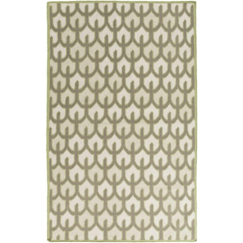 3.25' x 5.25' Bohemian Frame Olive Green, Ivory and Beige Hand Woven Shed-Free Wool Area Throw Rug - IMAGE 1
