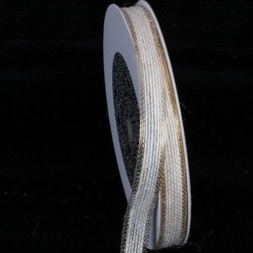 """White and Gold Edge Wired Craft Ribbon 0.5"""" x 80 Yards - IMAGE 1"""