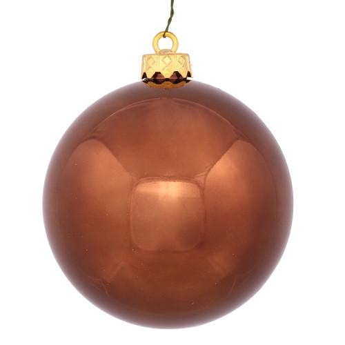 "Chocolate Brown Shiny Shatterproof Christmas Ball Ornament 2.75"" (70mm) - IMAGE 1"