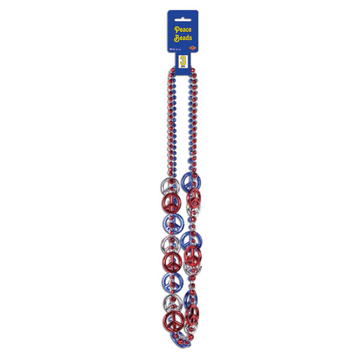 """Club Pack of 12 Patriotic Red and Blue Peace Sign Party Bead Necklaces 36"""" - IMAGE 1"""